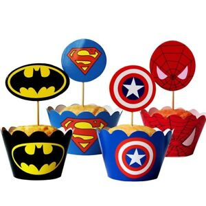 24pcs-pack-SUPERHERO-SQUAD-12-CUPCAKE-WRAPPERS-amp-12-TOPPERS-BIRTHDAY-PARTY-KIDS