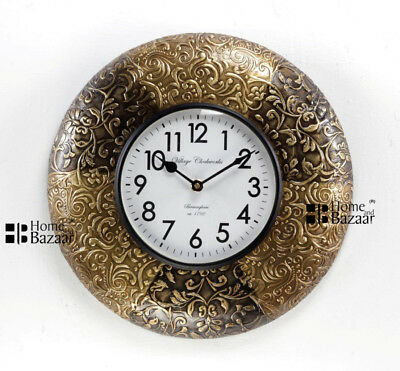 Details about  /Vintage Home Decor Antique Look Brass Engraving Work Wall Clock Ethnic India 133