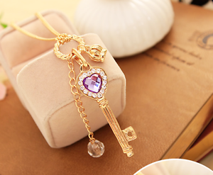 Fashion-Women-Purple-Crystal-Gold-Crown-Long-Pendant-Sweater-Chain-Necklace