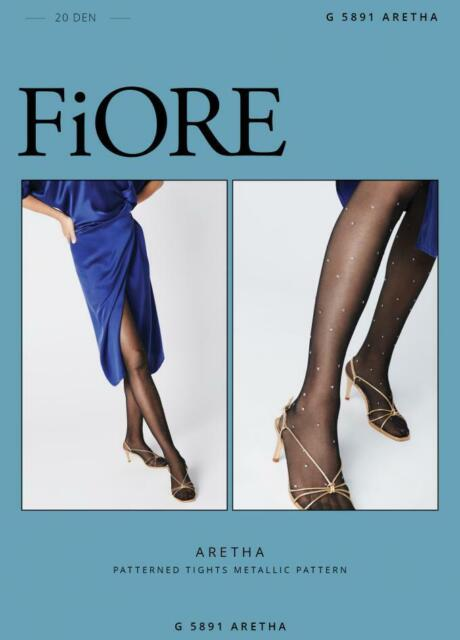 Patterned Party Tights with Silver Metallic Sparkle Details by Fiore Darisha 40