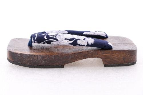 K-G-13 Blue White Flowers Japanese Geta Wood Sandal Socks Kimono Samurai Yukata