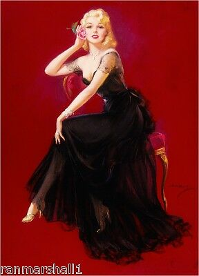 1940s Pin-Up Girl The Black Evening Gown Picture Poster Print Art Pin Up