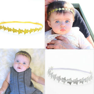 Baby-Girl-Toddler-Gold-Silver-Star-Elastic-Stretch-Party-Headbands-Hairbands-LJ