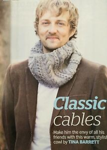 Knitting Pattern Mens Cable Patterned Cowl Textured Scarf
