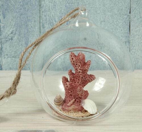 B Glaskugel 7,5x6,5x8,5cm zum Aufhängen maritim dekoriert Fensterdeko Koralle