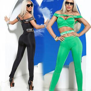 By Alina Damen Overall Jumpsuit HIGH-WAIST Stoffhose Push-Up Damentop Print