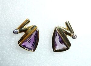 Design-Ohrringe 585 Or 2 Améthyste Dans Fantasie-Schliff + 2 Diamants 6,75 G