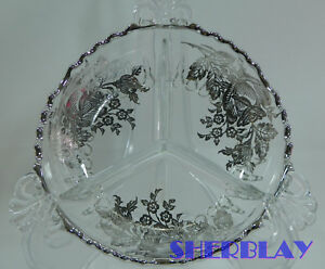 Decorative Arts Antique~silver Overlay~divided Candy~nut~relish Dish