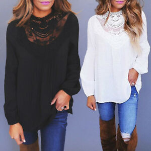 Women-Long-Sleeve-Lace-Casual-T-Shirt-Ladies-Summer-Loose-Tops-Blouse-OL-Shirts