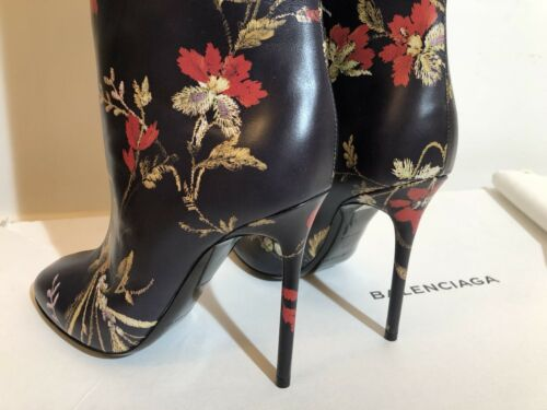 Fr Floral Leather £850 High Size Rare Boots Printed 3 Balenciaga Uk 36 New Rrp UwAq0n
