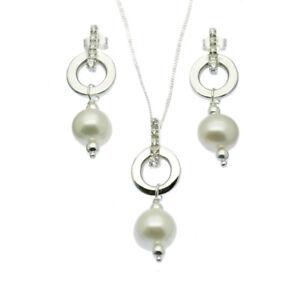 White Single Pearl Pendant Drop Earring Set Sterling Silver Faux Diamond Inlay