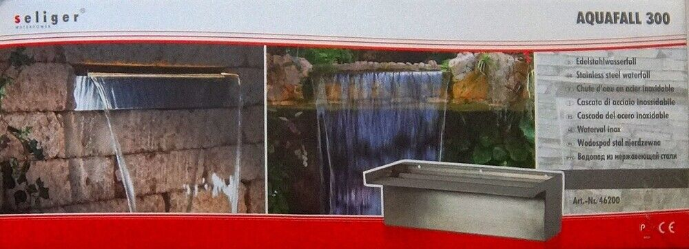 Stainless Steel Waterfall aquafall Garden Pond Waterfall Box up to 150 cm 59 inch