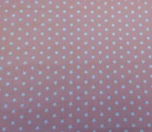 Polycotton Star fabric FREE P /& P. Pink White