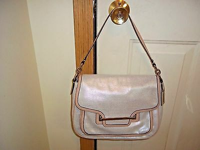 Authentic Coach Taylor Foiled Flap Metallic Coated Canvas Shoulder Bag 30621