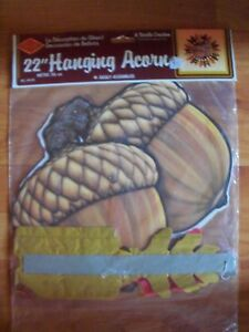 "1986 Beistle 22"" Hanging Acorn Thanksgiving Autumn Honeycomb Decoration NOS"