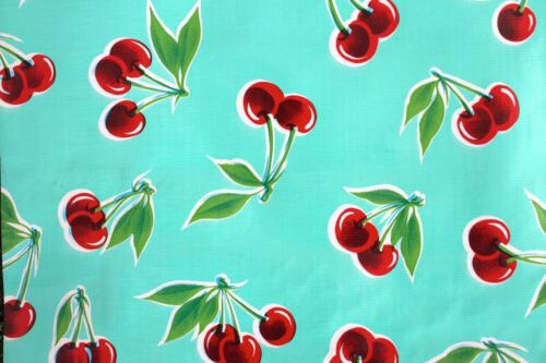 New Mexican Oilcloth Tablecloth PVC Waterproof Turquoise Cherries 100 X 120 Cm