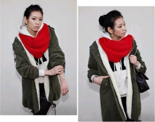 Unisex Winter Warm 2 Circle Cable Knit Cowl Neck Long Scarf Shawl US SELLER