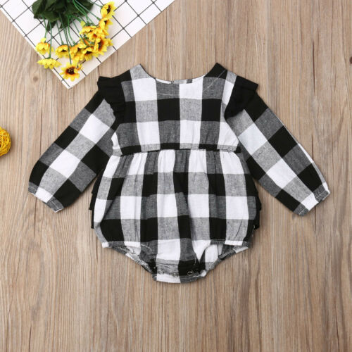 Newborn Toddler Baby Girl Plaid Clothes Christmas Romper Jumpsuit Outfit 0-18M
