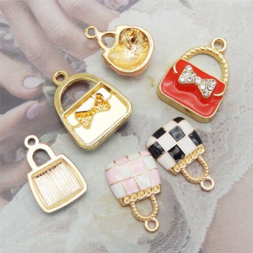 12PCS Enamel Plated Assorted Mixed Handbags Crystal Charms Pendant DIY Findings