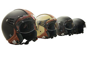 Leder Helm XS Rollerhelm S Motorradhelm Halbschalenhelm L M Jethelm XL