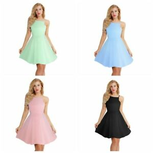 Women-Sleeveless-Casual-Halter-Neck-Party-Evening-Cocktail-Club-Short-Mini-Dress