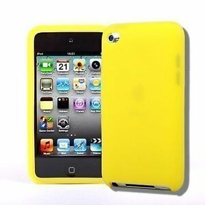 YELLOW-iPod-Touch-iTouch-4-4th-Gen-Colorful-Silicone-Rubber-Skin-Gel-Cover-Case