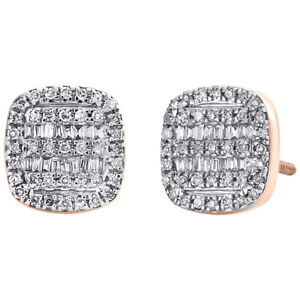1//3 Ct Round Natural Diamond Stud Earrings In Solid 10k Rose Gold