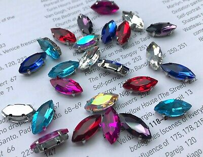 200x SS16 mixed multi mounted claw Sew On Glass Rhinestones Diamante 4mm #247