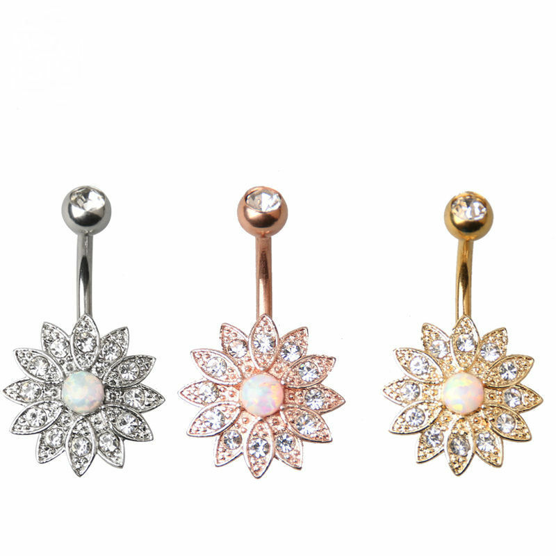 Details About Floral Opal Stainless Steel 14g Belly Ring Bar Body Jewellery Set Navel Br13