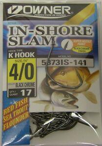 OWNER 4//0 IN-SHORE SLAM HOOKS MODEL 5373IS-141 NEW OWNER HOOKS 17 PER PACK