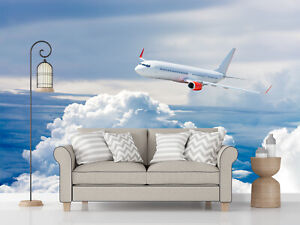 3D-White-airplane-flying-above-cloud-Self-adhesive-Wallpaper-Bedroom-Mural-Decor