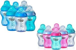 Tommee-Tippee-Closer-To-Nature-6x-260ml-Feeding-Bottles-Boys-Girls-BBA-FREE