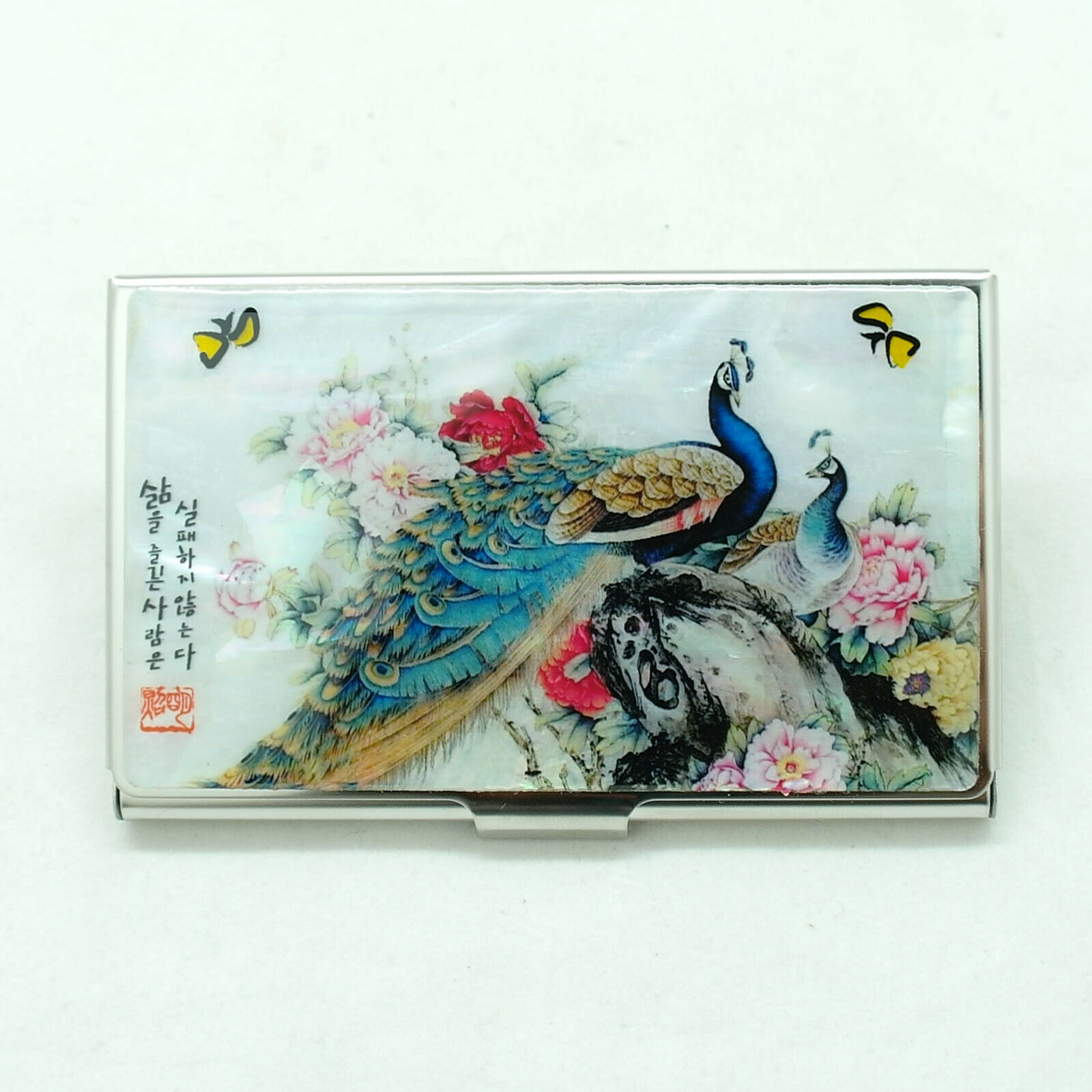 Colorful ID card holder a pair of peacocks lovely design MOP Business card case