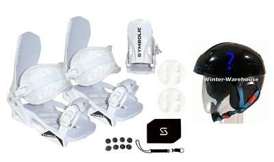 Symbolic Custom-Flow White Snowboard Bindings /& Leash /& Stomp Pad Large-XL