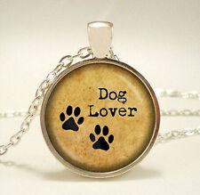 Vintage love dog Cabochon Tibetan silver Glass Chain Pendant Necklace Jewelry