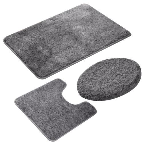 3Pcs Bathroom Rug Set Bath Mat Non Slip Pedestal Soft Bath Toilet Seat Cover USA