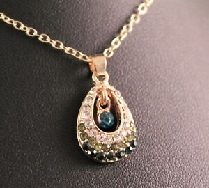 Gold-Tone-Rhinestone-Teardrop-Beauty-Pendant-Necklace-w-Free-Jewelry-Box-Ship