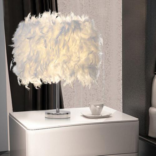 White Feather Table Lamp Shades Lampshade Elegant Bedside Night Light Decor UK
