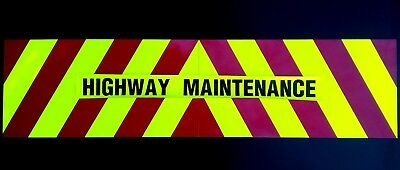 Highway Maintenance sticker with Chevrons Reflective /& Fluorescent 1200 x 200mm