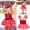 Kids Girl Baby Toddler Minnie Mouse Polka Dot Party Costume Ballet Tutu Dress