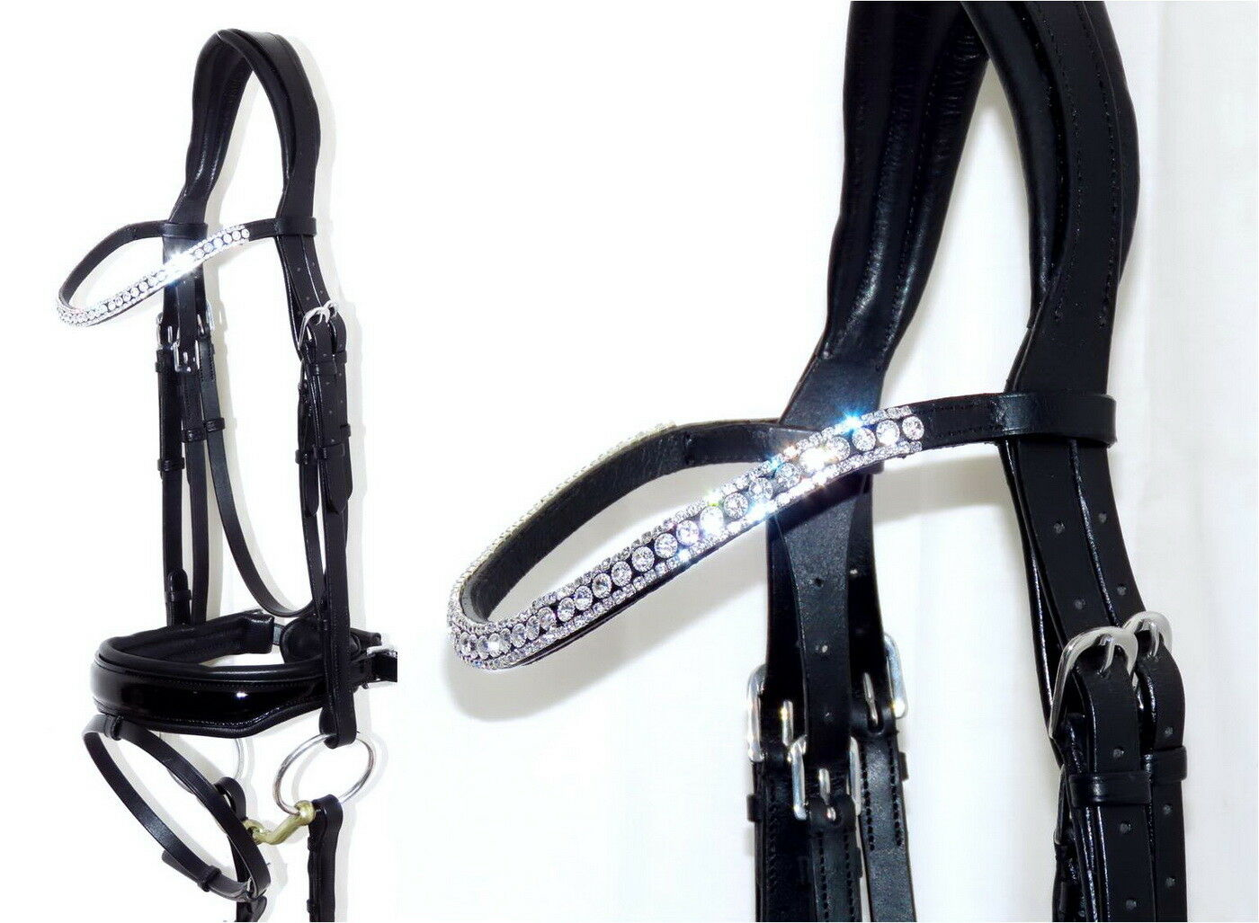 FSS RADIENT CLEAR Crystal Bling FREEWAY CUT-AWAY Comfort MonoCrown  PATENT Bridle  100% price guarantee