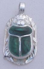 Scarab.925 Silver Pendant inlaid with Malachite (Hallmarked)