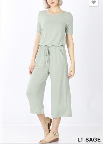 ZENANA 3186 Short Sleeve Knit Jumpsuit Romper Capri Length Elastic Waist