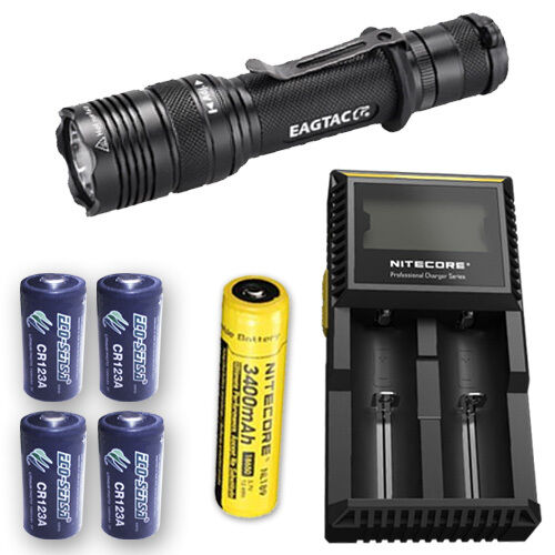 EagleTac T200C2 Flashlight w/D2 Charger, NL189 & 4x Eco-Sensa CR123A Batteries