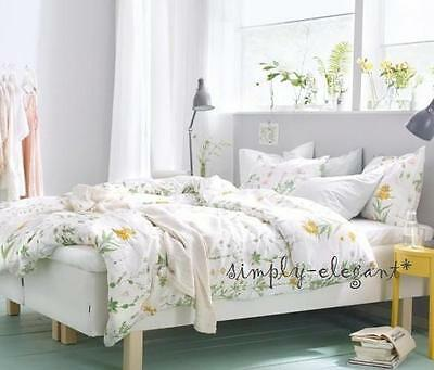 IKEA Country Floral Duvet Quilt Cover with 2 Pillow Cases Strandkrypa Botanical