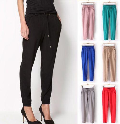 Fashion Women Casual Sport Drawstring Elastic Waist Chiffon Harem Pants Trousers