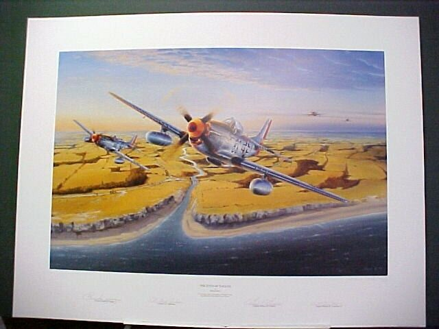 Eyes of Eagles P-51 Mustang Chuck Yeager Bud Anderson Ace Signed Aviation Art LE