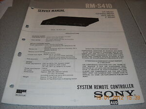 SONY RM-S410 System Remote Controller Service Manual