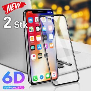 2x-6D-Panzerfolie-Glas-Fuer-iPhone-X-XS-Echt-Glas-9H-Hartglas-Displayschutz-Folie