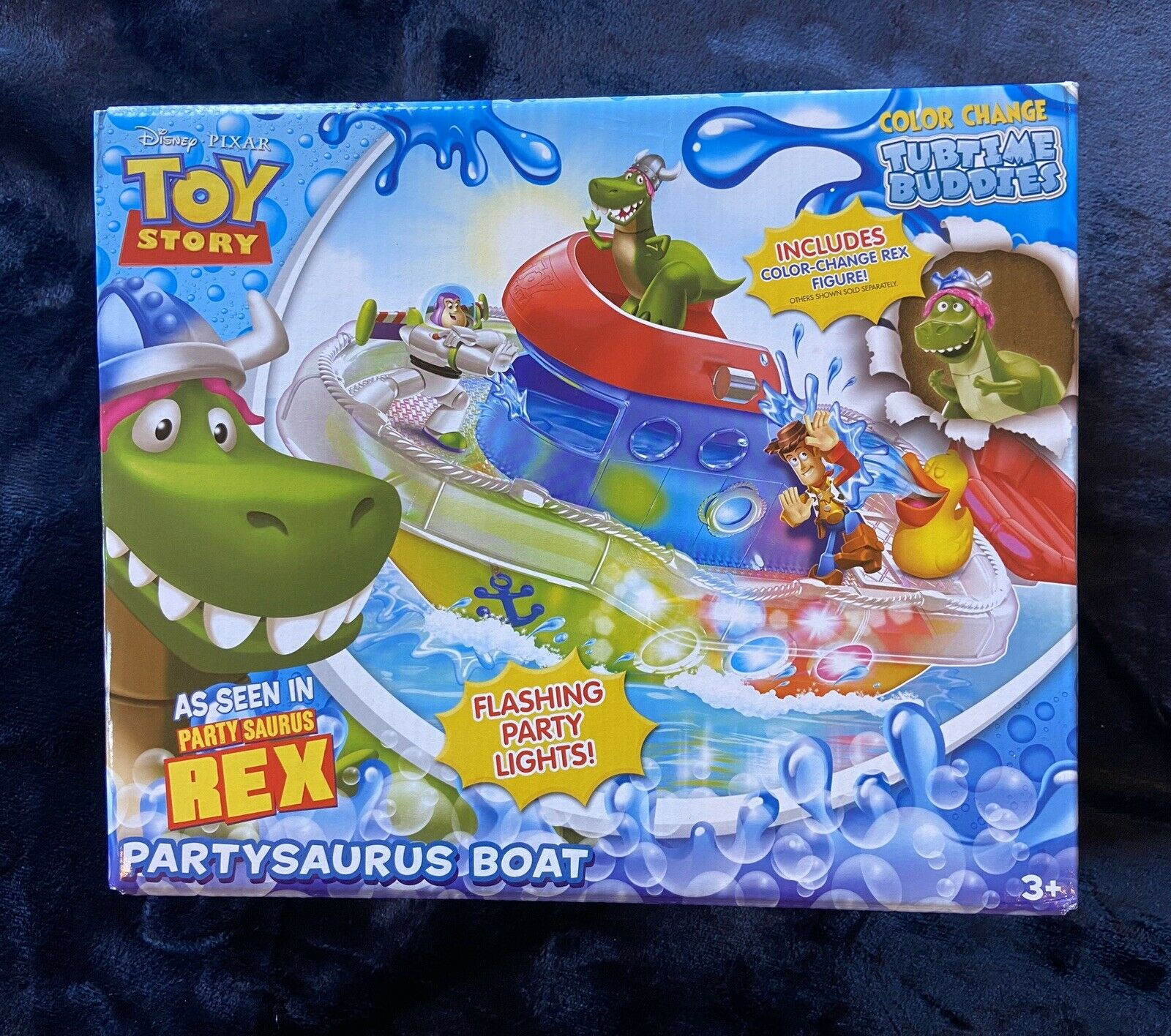 Toy Story Partysaurus Rex Boat Light Up Rare BNIB Splash Buddies Pixar Short